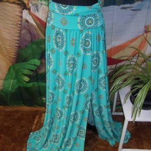 NY&CO  Turquoise BoHo Stretch Maxi Skirt Split